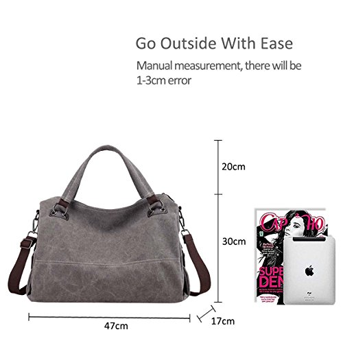 Casual Large NICOLE Hobo Messenger Bag Tote amp; Shoulder Canvas Capacity Handbag Body DORIS Gray Cross Bag r0xf40wUq