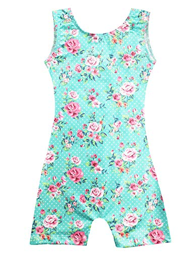 Grils Fancy Gymnastics Biketard Leotards Appeal with Shorts 7t 8t,One-Piece Kids Floral Tank Athletic Swimwear Quick-Dry Green