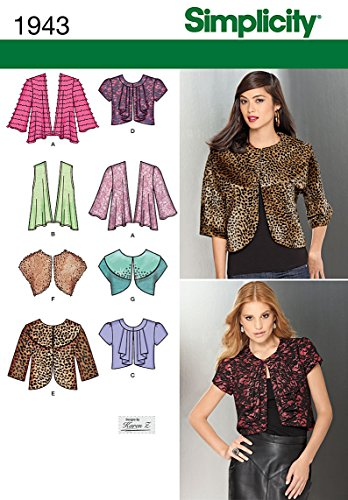 Simplicity Karen Z Pattern 1943 Misses Knit and Woven Jackets Sizes (Bolero Sewing Pattern)