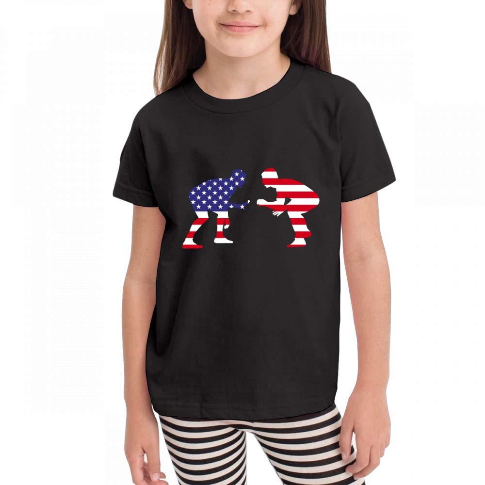 Antonia Bellamy Cool American Wrestling Proud Wrestler Children's Short Sleeve Crew Neck Graphic T-Shirts Tops