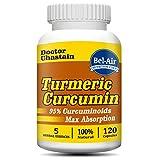 Bel-Air Turmeric Curcumin with black pepper extract, 100% potent curcumin and standardized to 95% Curcuminoids, 120 veggie capsules tumeric curcumin supplement, best tumeric supplement Review