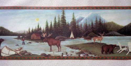 Lodge Wallpaper Border Fishing Moose Bear Camping