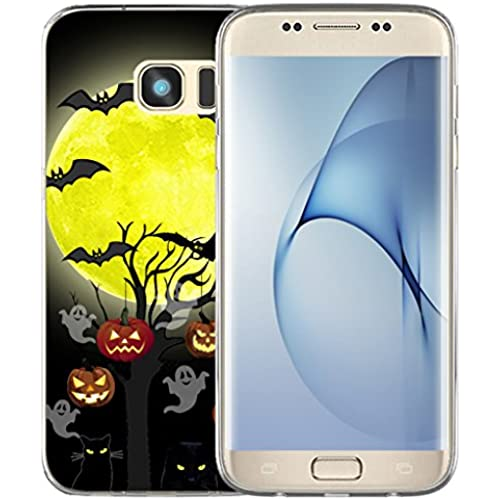 S7 Edge Case Halloween Pumpkin / IWONE Samsung Galaxy S7 Edge Case Tpu Skin Cover Protective Rubber Silicone + Halloween Design Gift Present Sales