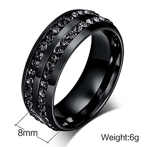 Gy Jewelry Couple Ring His Hers Women Black Gold Filled Cz Men Stainless Steel Bridal Sets Wedding Band by Gy Jewelry (Image #5)