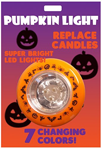 Universal Specialties Light Up Jack O Lantern Halloween Multi Colored Changing Pumpkin Light Flashing LED]()