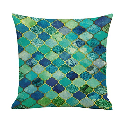 Winhurn Colorful Bohemia Style Linen Cushion Cover Pillow Case for Sofa Home Decor (Style F)