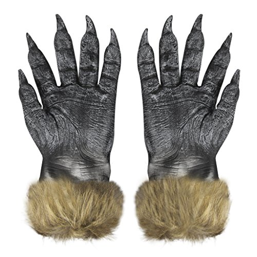 Halloween Latex Wolf Gloves Scary Hairy Hands Werewolf Paw Party Costumes (Animatronic Halloween Costumes)