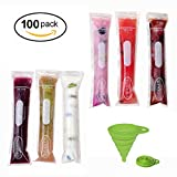Image of PREMIUM Ice Pop molds Bags  with Collapsible Funnels and Recipe E-book Ice Pop Zip-Top Bags Ice Pop Pouch