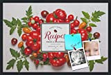 PinPix decorative pin cork bulletin board made from canvas, Recipe Board with Farmers Tomatoes 36x24 Inches (Completed Size) and framed in Satin Black (PinPix-Group-36)