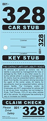 3-Part Valet Parking Tickets (Car/Key/Claim Check) - 2,000 Card Stock Blue by Admit One Products