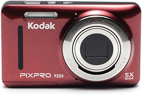 """Kodak PIXPRO Friendly Zoom FZ53-RD 16MP Digital Camera with 5X Optical Zoom and a couple of.7"""" LCD Screen (Red)"""