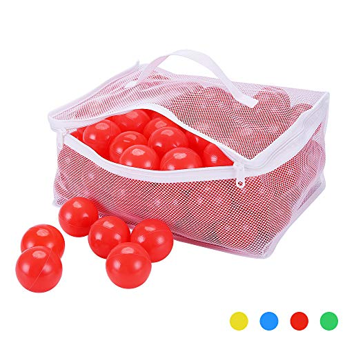 (PlayMaty Pack of 100 Ball Pit Plastic Ball Kids Swim Pit Fun Toy Red 100 Pieces Balls with Storage Bag for Baby Playhouse Pool Birthday Party Decoration)
