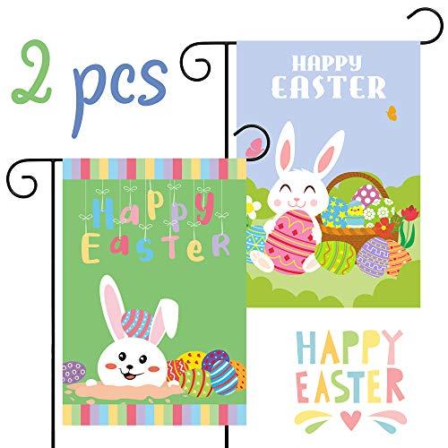 GROBRO7 2Pcs Happy Easter Garden Flag Double Sided Bunny House Flag Egg Decorative Yard Festival Celebrate Flag Rabbit Polyester Decorative Flag for Outdoor Party(18.5 x12.4 Inch) (Green Egg Festival)