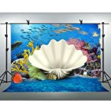 FLASIY Backdrop Underwater World Photography Backdrops 10x7FT Coral Fish Photo Background for Children Party Studio Photo Video Shoot Props GEAY031 Reviews