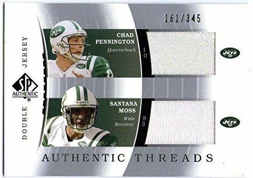 2003 SP Authentic Threads Chad Pennington Santana Moss Jersey Card /345 NY Jets