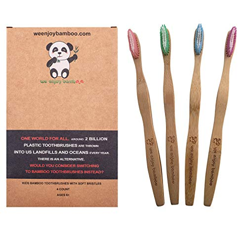 Natural Eco Friendly Bamboo Toothbrush Adult Medium Nylon Bristles, 100% Plastic Free & Biodegradable Handle & Packaging, Sustainable Dental Care, Zero Waste Products, 4-Pack