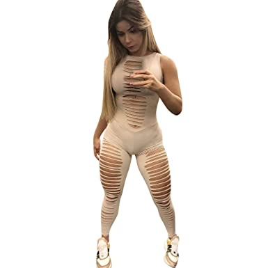 630a3b0bf42 2019 Bodycon Jumpsuit Women Sexy Cut Out Sleeveless Rompers Summer Slim Fit  One-Piece Long