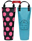 Vina Wine Tote Bag 2 Pack, Single Wine & Champagne Bottle Thermal Insulated Cooler Nylon Carrier Case for Travel, Picnics and Beach Days