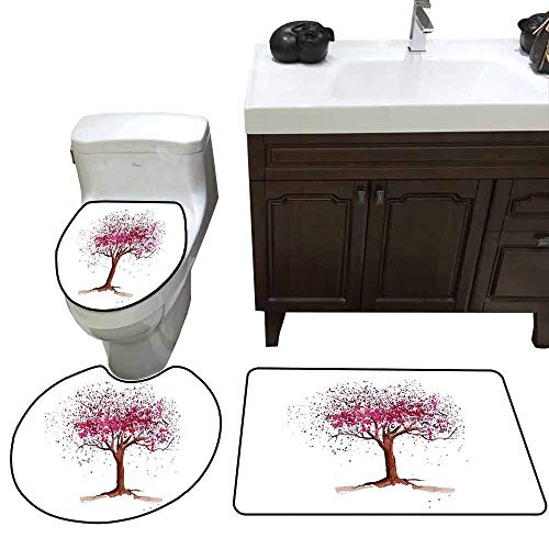 (3 Piece Extended Bath mat Set Floral Japanese Cherry Blossom Buds Sakura Tree in Watercolor Beauty Essence Artwork 3 Piece Toilet Cover Set Magenta Redwood)