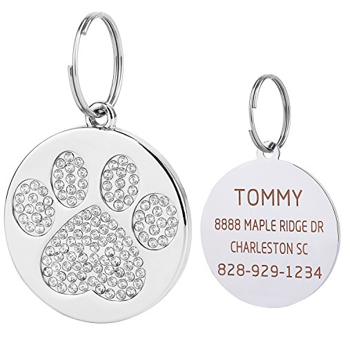 Vcalabashor Silver Rhinstones Cat & Dog Tags for Small Medium Large Dogs/Polished Mirror-Finished Stainless Steel/Sparkly Diamonds Paw Printed/Clear Laser Engraved / 1.0