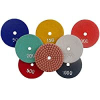 Konfor Premium Grade Diamond Polishing Pads Wet Use 7 Pcs Set for Granite Marble Concrete Stone Polisher