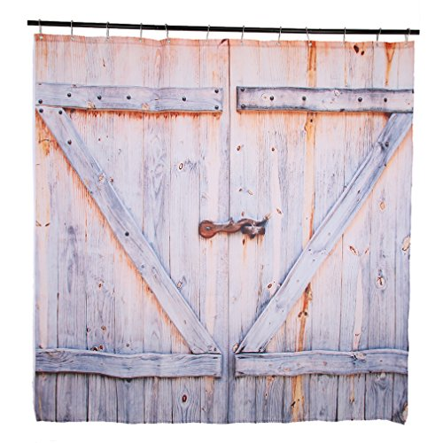 Solid Doors Wood Rustic - Kinlo Big Door Shower Curtain, Rustic Country Barn Wood Door Digital Printing Polyester Shower Curtain Mildew-Free Water-Repellent Non Toxic, No Odor  72 by 72 with Adjustable Hook