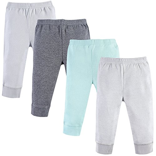 (Luvable Friends Baby Tapered Ankle Pants, Mint Gray, 0-3 Months (3M) )