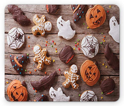 SHAQ Cookie Mouse Pad, Sweets Covered in Chocolate Dipped in Frosting Halloween Theme Ghosts and Pumpkins, Standard Size Rectangle Non-Slip Rubber Mousepad, Multicolor