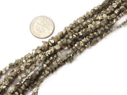 4mm-5mm Natural Semi Precious Freeform Silver Gray Pyrite Gemstone Beads for Jewelry Making Strand 15