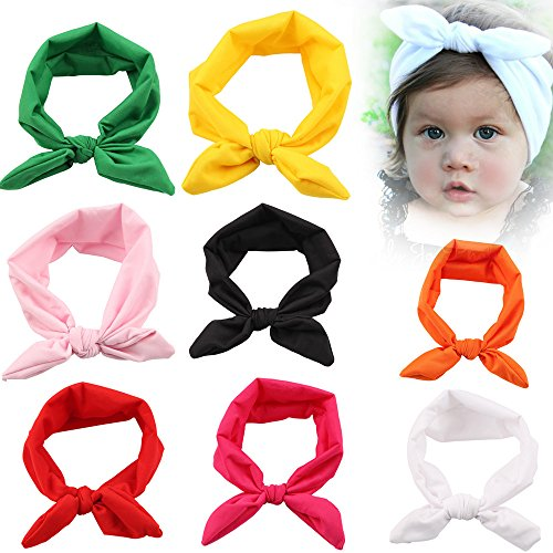 Roewell Baby Elastic Hair Hoops Headbands and Girls Fashion Headbands (8 pack)