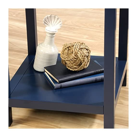Sauder Cottage Road Side Table, Indigo Blue finish - Drawer features metal runners and safety stops Open shelf for additional storage Indigo Blue finish - nightstands, bedroom-furniture, bedroom - 51SMmdqcvnL. SS570  -