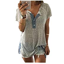 Mapletop Women Loose V neck Tank Tops Casual Short Sleeve Button Blouse T Shirt