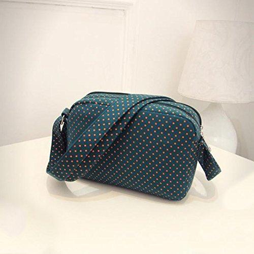 Creaon Waist Bag Printed with Dot Pattern Travel Messenger Bag for Women(Dark green)