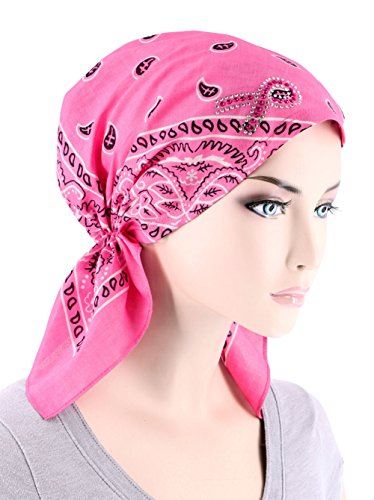 Paisley Bandana Scarf Pre Tied Breast Cancer Awareness Pink Ribbon Rhinestone Hat Cap Light Pink (Cotton Headwrap Lightweight)