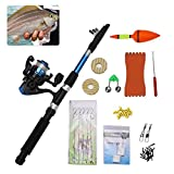 Portable Telescopic Fishing Rod Reel Combo - Fishing Pole Reel Kit with Fishing line Hooks Lures Floats Weights Sea Saltwater Fishing Kit Accessory Set for Camping Travel Hiking