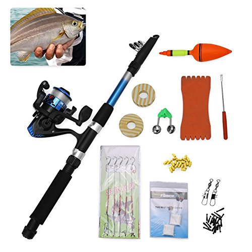 Vbestlife Portable Telescopic Fishing Rod Reel Combo – Fishing Pole Reel Kit with Fishing line Hooks Lures Floats Weights Sea Saltwater Fishing Kit Accessory Set for Camping Travel Hiking