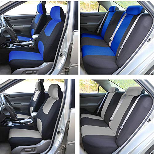 NILE Universal Fit Car Cloth Fabric Seat Cover Full Set - Fit Most Car, Truck, SUV or Van (Grey)