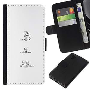 Be-Star la tarjeta de Crédito Slots PU Funda de cuero Monedero caso cubierta de piel LG Nexus 5 D820 D821 ( White Black Sketch Love Woman Man )