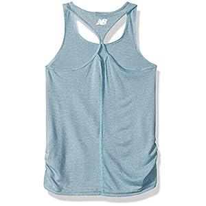 New Balance Big Girls' Athletic Tank Top, Sea/Poison Cross Dye, 16
