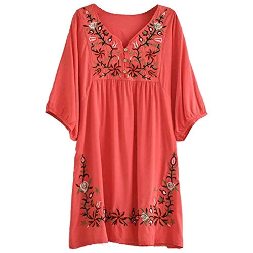 Asher White Mexican Embroidered Peasant Dressy Tops Blouses (One Size, Red)
