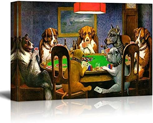 Pokers Dogs (or Dogs Playing Cards) by C M Coolidge Print Famous Painting Reproduction