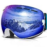 COPOZZ Ski Goggles, G1 Mens Womens Ski Snowboard Snowboarding Goggles - Over Glasses Double Lens Anti Fog Frameless,Cool REVO Mirror White Blue for Men Women Youth Snowmobile Skiing