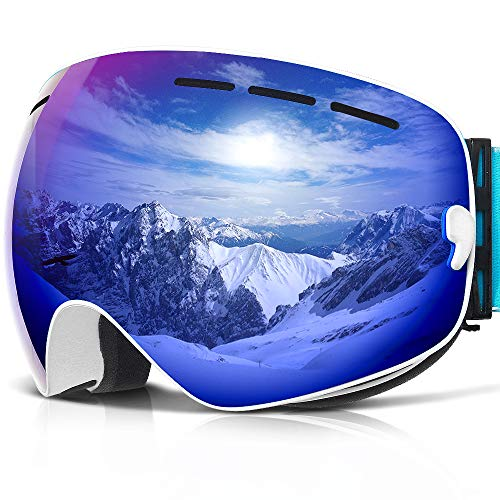 COPOZZ Ski Goggles, G1 Mens Womens Ski Snowboard Snowboarding Goggles - Over Glasses Double-Layer Lens Anti Fog Frameless,Cool REVO Mirror White Blue for Men Women Youth Snowmobile Skiing