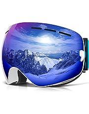COPOZZ Ski Goggles, G1 Skiing Goggles For Snowboard Jet Snow - For Women Men Ladies Youth Teen - OTG Over Glasses Anti Fog UV Protection Helmet Compatible Interchangeable Lens Sunglasses - White Blue