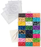 5500 Beads - Fuse Bead Kit - Includes 5,500 Beads in 24 Colors, 4 Pegboards, 1 Tweezer, 2 Ironing Papers - Compatible with Perler Beads