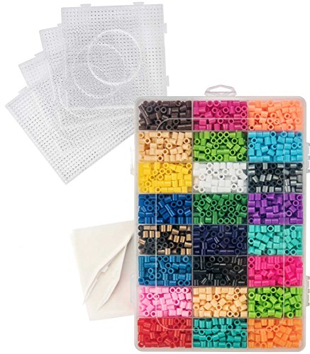 5500 Beads - Fuse Bead Kit - Includes 5,500 Beads in 24 colors, 4 Pegboards, 1 Tweezer, 2 Ironing Papers - Compatible with Perler Beads (Colour 5500)