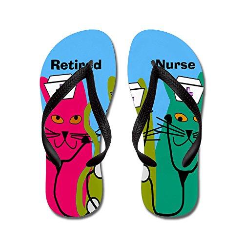 CafePress Retired Nurse FF 7 - Flip Flops, Funny Thong Sandals, Beach Sandals Black