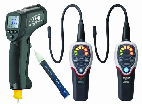 Reed ST-HVACKIT2 4-Piece HVAC Combo Kit with Infrared Thermometer, Gas Detector, Combustible Gas Detector, and Voltage Detector