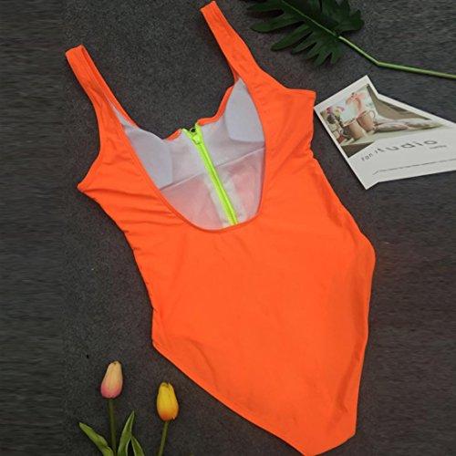 Triangulaire Pièces Col Bikinis De Bain Zippé Sanfashion Amincissante Femme Orange 1 Maillot zBwgCq1