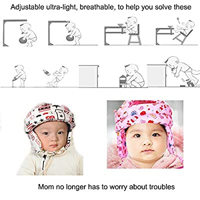 RANRANHOME Baby Adjustable Safety Helmet Children Headguard Infant Protective Harnesses Cap Pink,White